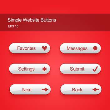 Vector illustration set of white color buttons for website or app on red background - vector gratuit(e) #125725