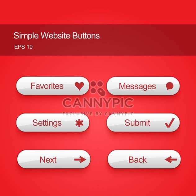 Vector illustration set of white color buttons for website or app on red background - Free vector #125725