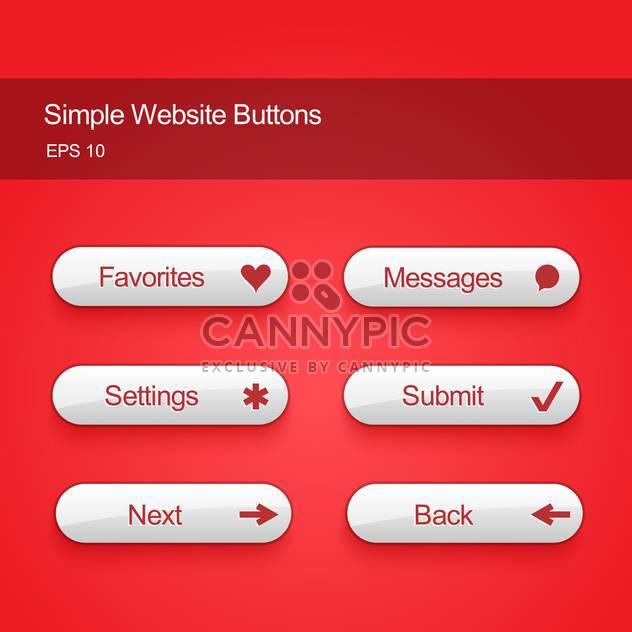 Vektor-Illustration legen weiße Farbe Tasten für Website oder app auf rotem Hintergrund - Kostenloses vector #125725