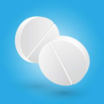 Vector illustration of two white medical pills on blue background - Free vector #125745