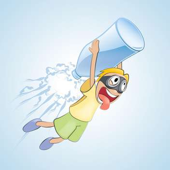 Vector illustration of boy flies with bottle of water on blue background - vector gratuit #125755