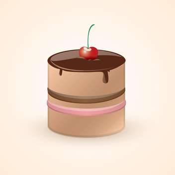 Vector illustration of cute sweet chocolate cake with cherry on top on pink background - Free vector #125765