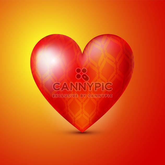 Vector illustration of colorful valentine card background with big red heart - Free vector #125785
