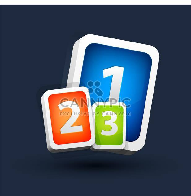 Vector illustration of colorful one two three buttons on dark background - Free vector #125825