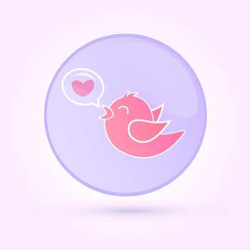 Vector illustration of pink love bird in speech bubble on pink background - vector gratuit #125845