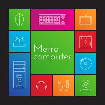 Vector illustration set of colorful computer icons - Free vector #125865