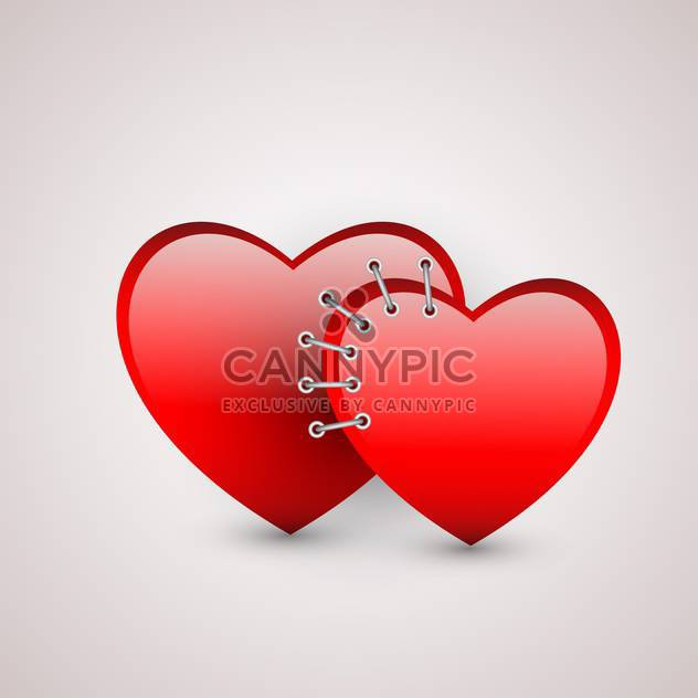 Vector illustration of two red hearts with seam on white background - Free vector #125875