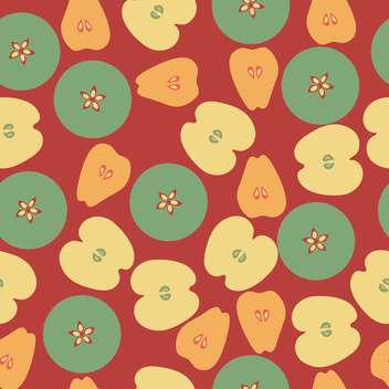 Vector background with apple and pears on dark red background - vector gratuit(e) #125885