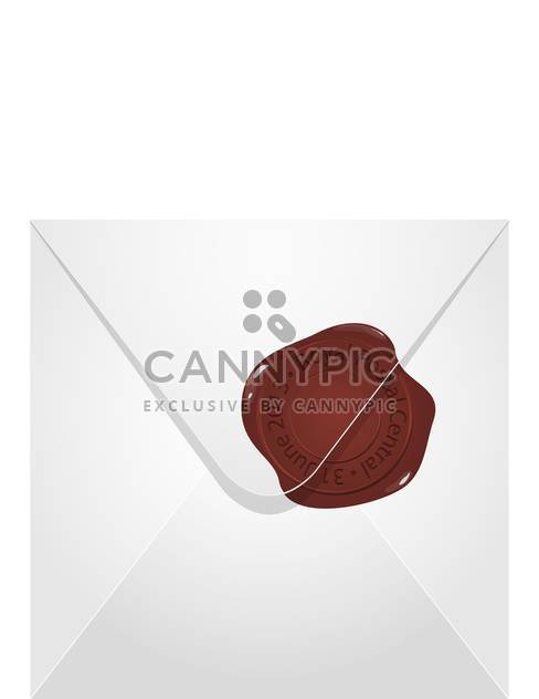 Vector illustration of white post envelope with brown wax seal on white background - Free vector #125905