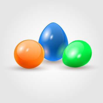 three colorful easter eggs on white background - vector gratuit #125935