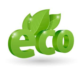 Vector illustration of green eco icon with leaves on white background - vector gratuit #125985