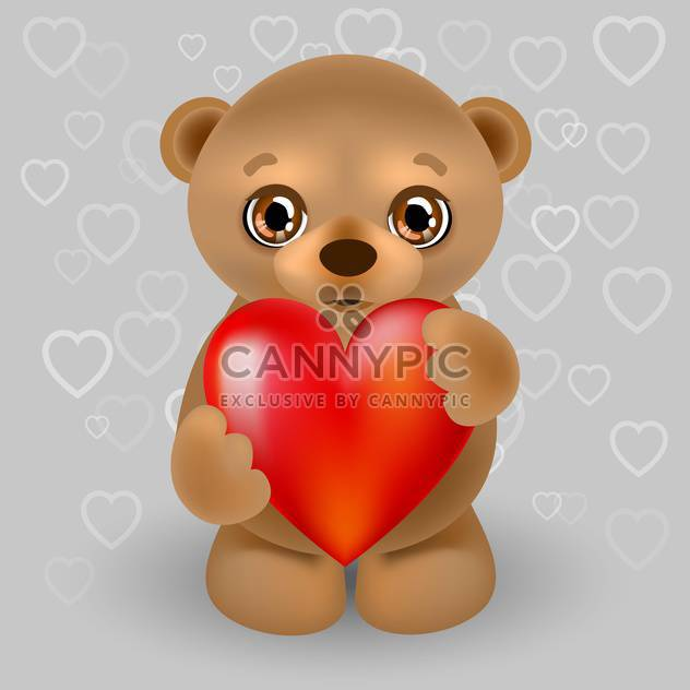 Vector illustration of teddy bear with big red heart - Free vector #126005