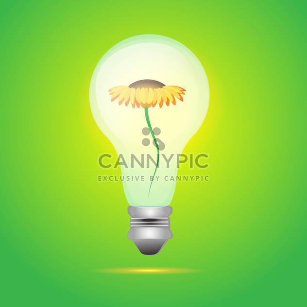 colorful illustration of yellow flower in bulb on green background - Free vector #126135