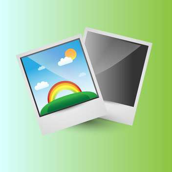 Vector illustration of bright background with photo frames of beautiful rainbow - vector gratuit #126145