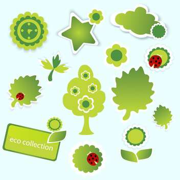 Vector illustration of green eco collection on blue background - Free vector #126155