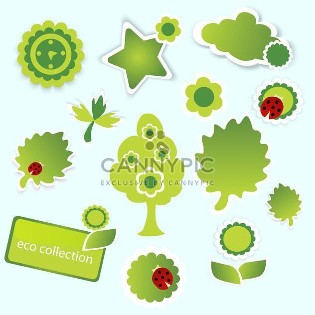 Vektor-Illustration der grünen Öko-Auflistung auf blauem Hintergrund - Kostenloses vector #126155