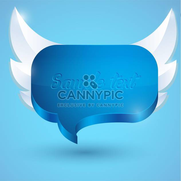 Vector illustration of abstract glossy speech bubble with wings on blue background - Free vector #126205