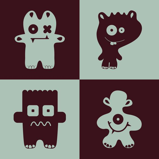 Vector collection of cartoon funny monsters - vector #126275 gratis