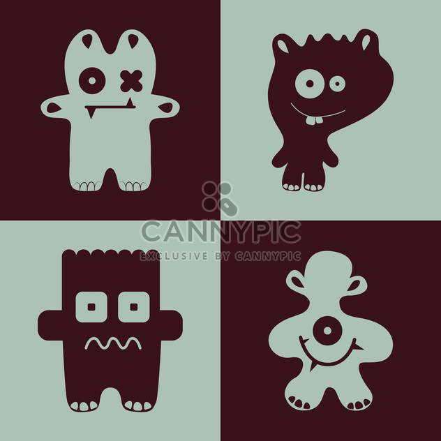 Vector collection of cartoon funny monsters - Free vector #126275