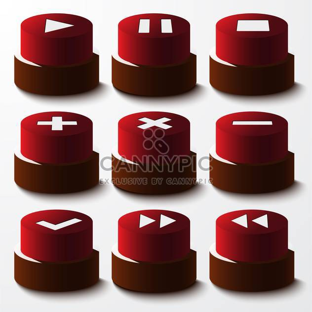 Vector set of red round web buttons on white background - Free vector #126295