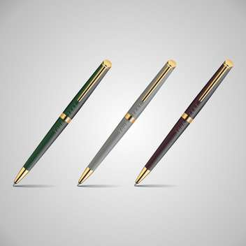 Vector illustration of three metal pens on grey background - vector gratuit #126355