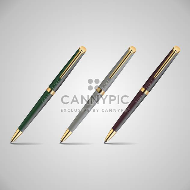 Vector illustration of three metal pens on grey background - Free vector #126355