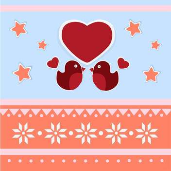 Vector greeting card for Valentine's day with birds and hearts - vector gratuit(e) #126395