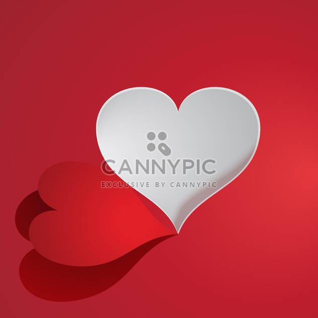 Vector paper heart on red background for valentine card - Free vector #126425