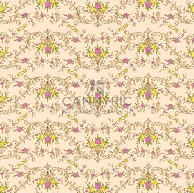 Vector vintage floral beige background with elegance decoration flowers - Free vector #126445