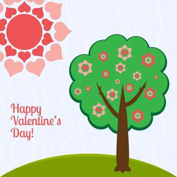 Vector illustration of tree with hearts for valentine card - Free vector #126485