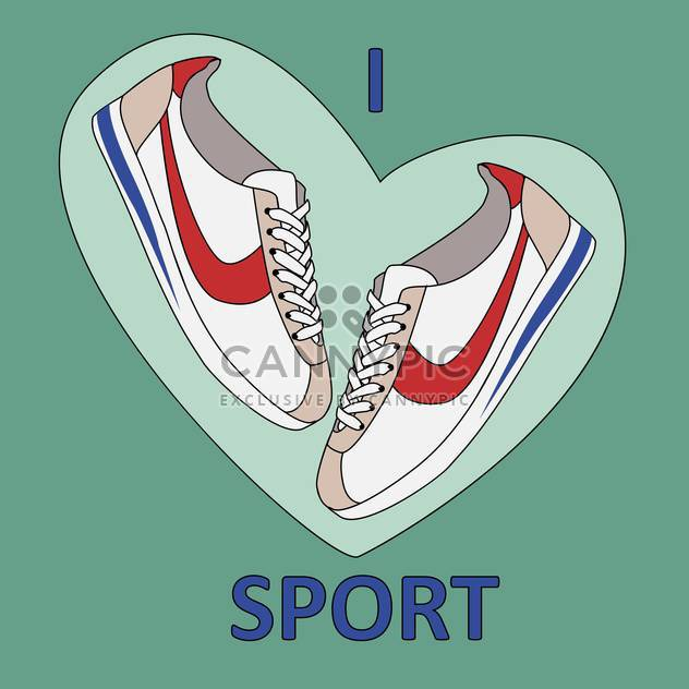 vector illustration of I love sport sign with shoes on green background - Free vector #126595