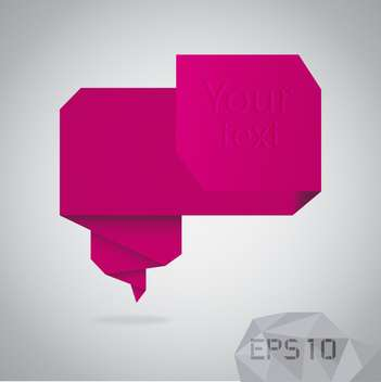 Abstract origami speech bubble on grey background - vector gratuit #126645