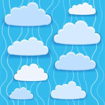 Vector illustration of blue clouds collection with text place - vector gratuit #126685