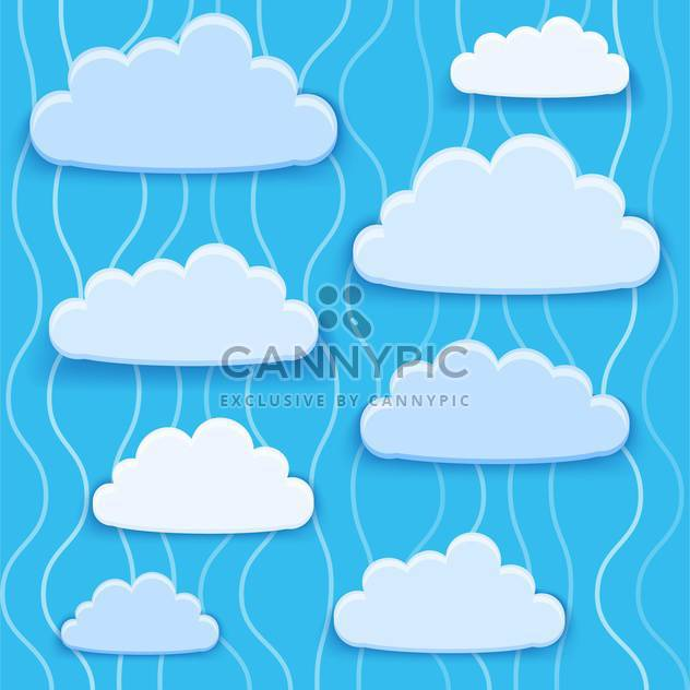 Vector illustration of blue clouds collection with text place - Free vector #126685