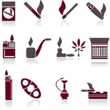 grey and red colors smoking icons on white background - vector gratuit(e) #126745