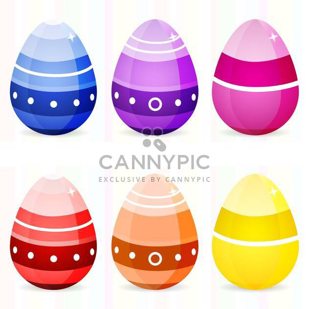 Vector set of easter eggs on white background - Free vector #126765