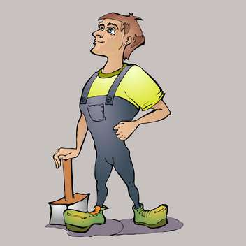 cartoon worker with hammer on grey background - vector gratuit(e) #126795