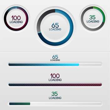 Vector set of loading bars on white background - vector gratuit #126815