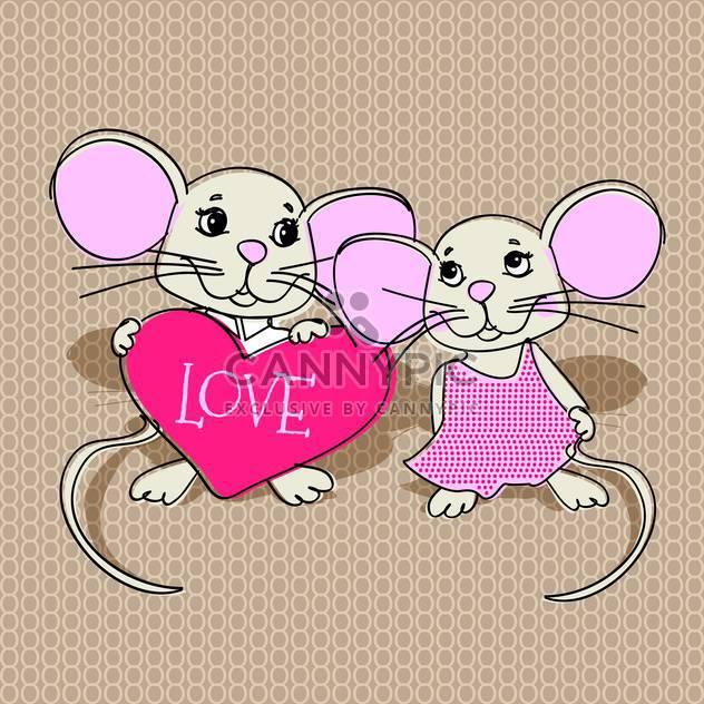 Mäuse in der Liebe mit rosa Herz für Valentinskarte - Kostenloses vector #126835