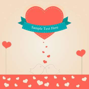 Valentine day card with big red heart and text place - vector gratuit #126895