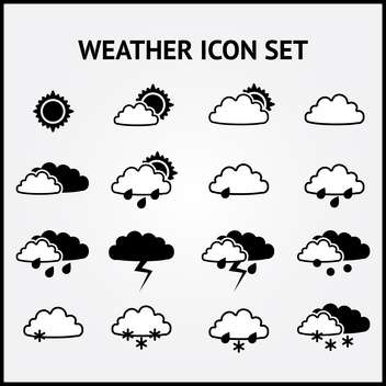Vector set of weather black icons on grey background - Free vector #126905