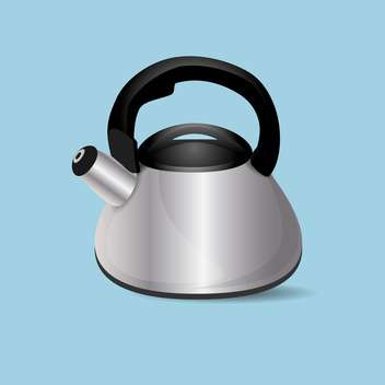 Vector illustration of steel kettle on blue background - vector gratuit(e) #126925
