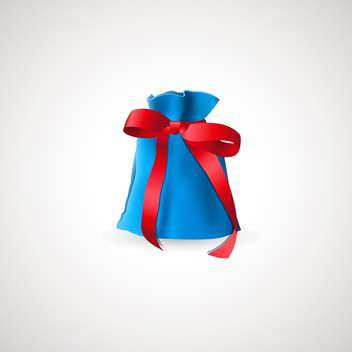Vector illustration of blue gift bag with red bow on white background - Free vector #126935