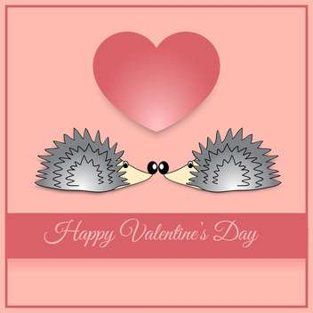 Vector greeting card with hedgehogs for Valentine's day - vector gratuit(e) #126945