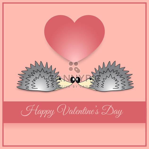 Vector greeting card with hedgehogs for Valentine's day - Free vector #126945
