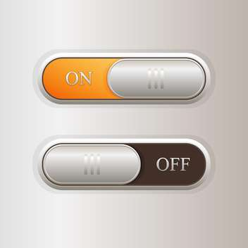 Vector illustration of on off buttons on grey background - vector gratuit #126965