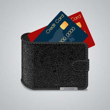 Leather wallet with credit cards inside on grey background - vector gratuit #126975