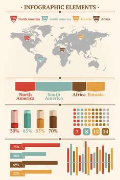 Retro infographics set with world map and Information graphics - vector #127005 gratis