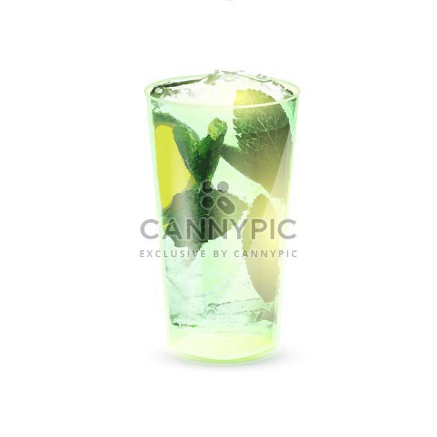 vector illustration of cold mojito cocktail on white background - Free vector #127025