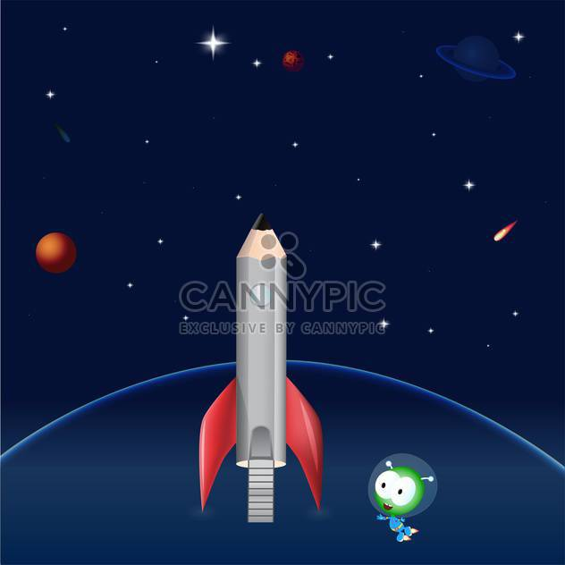 Pencil rocket on dark blue sky background - Free vector #127055